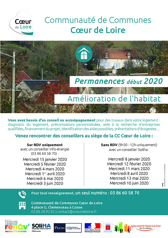 Prochaines permanences «Amélioration de l'Habitat»