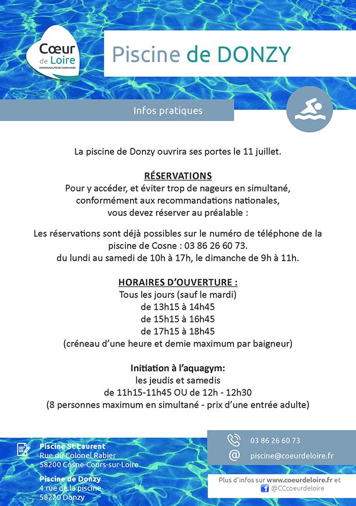 Réouverture de la piscine de Donzy le 11 juillet