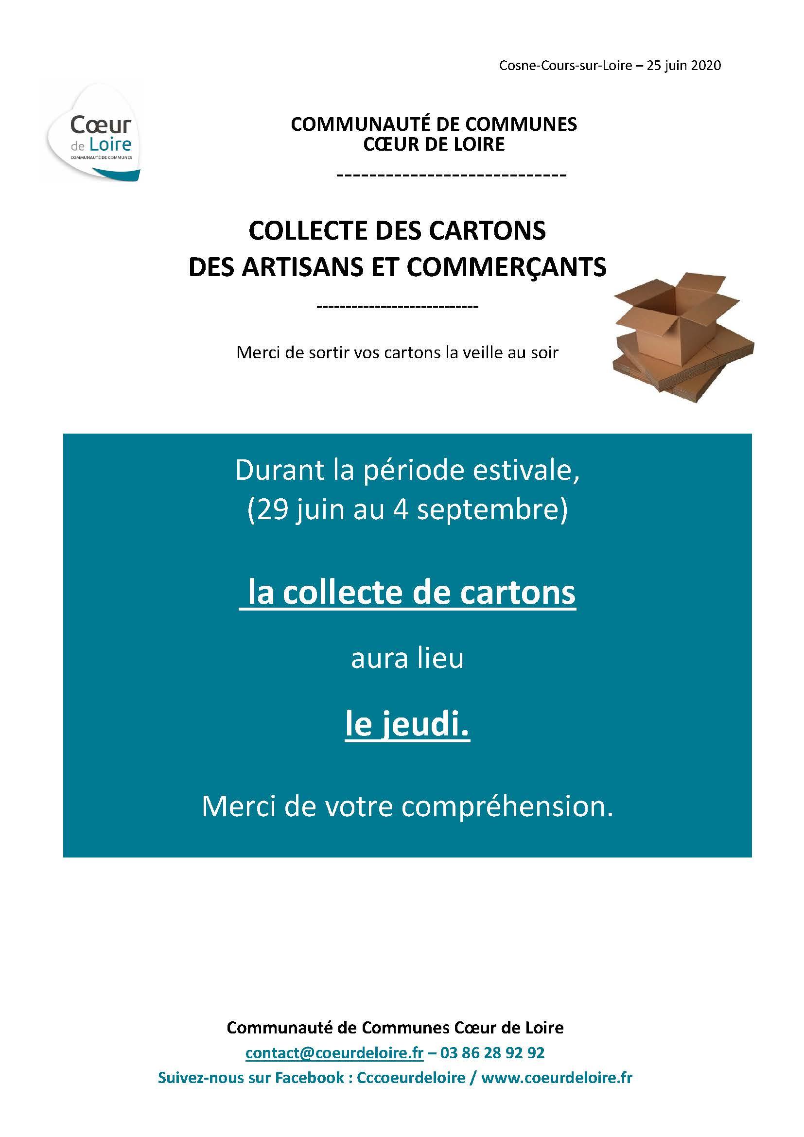 Modification des jours de collecte des cartons des commerçants