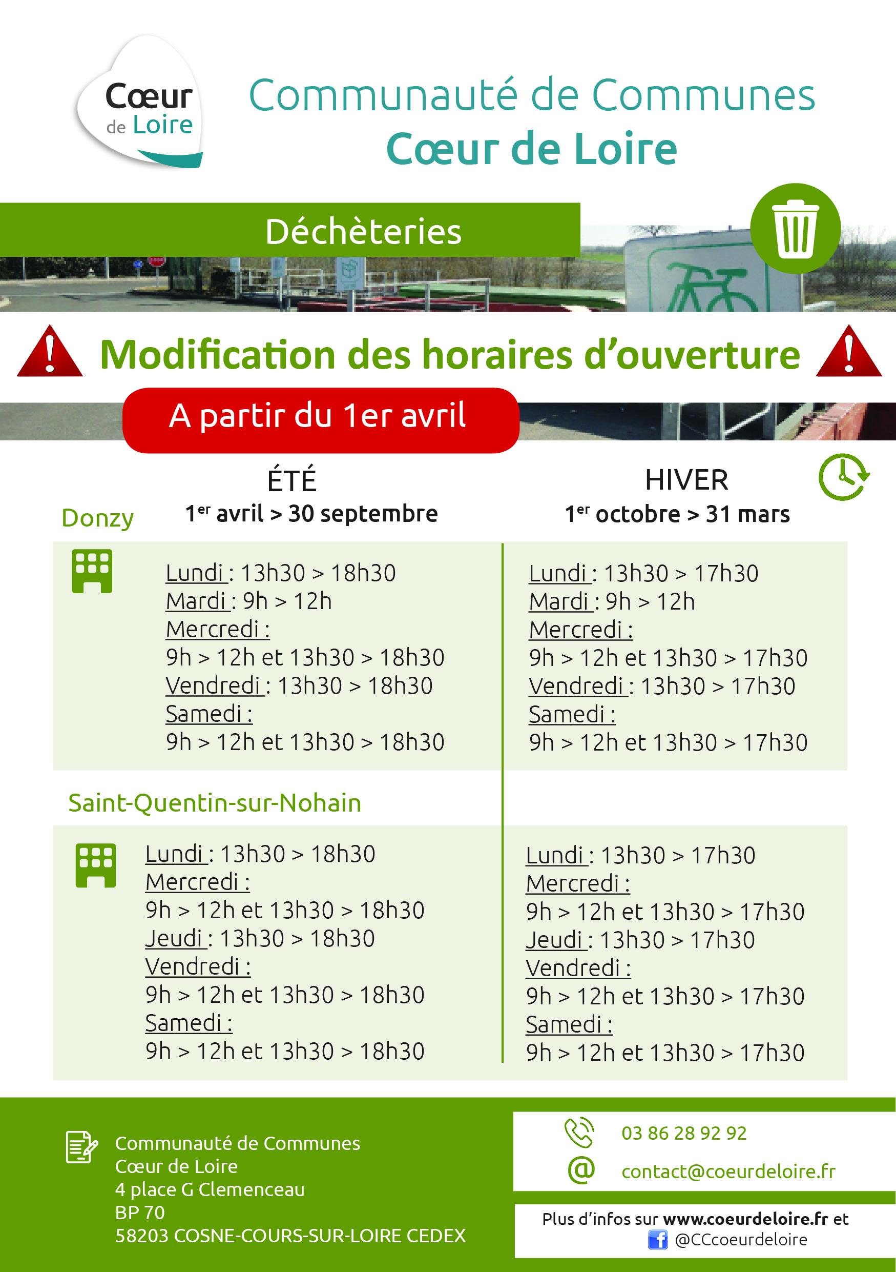 Déchèteries de Donzy et St Quentin : Modifications des horaires d'ouverture – 1er avril