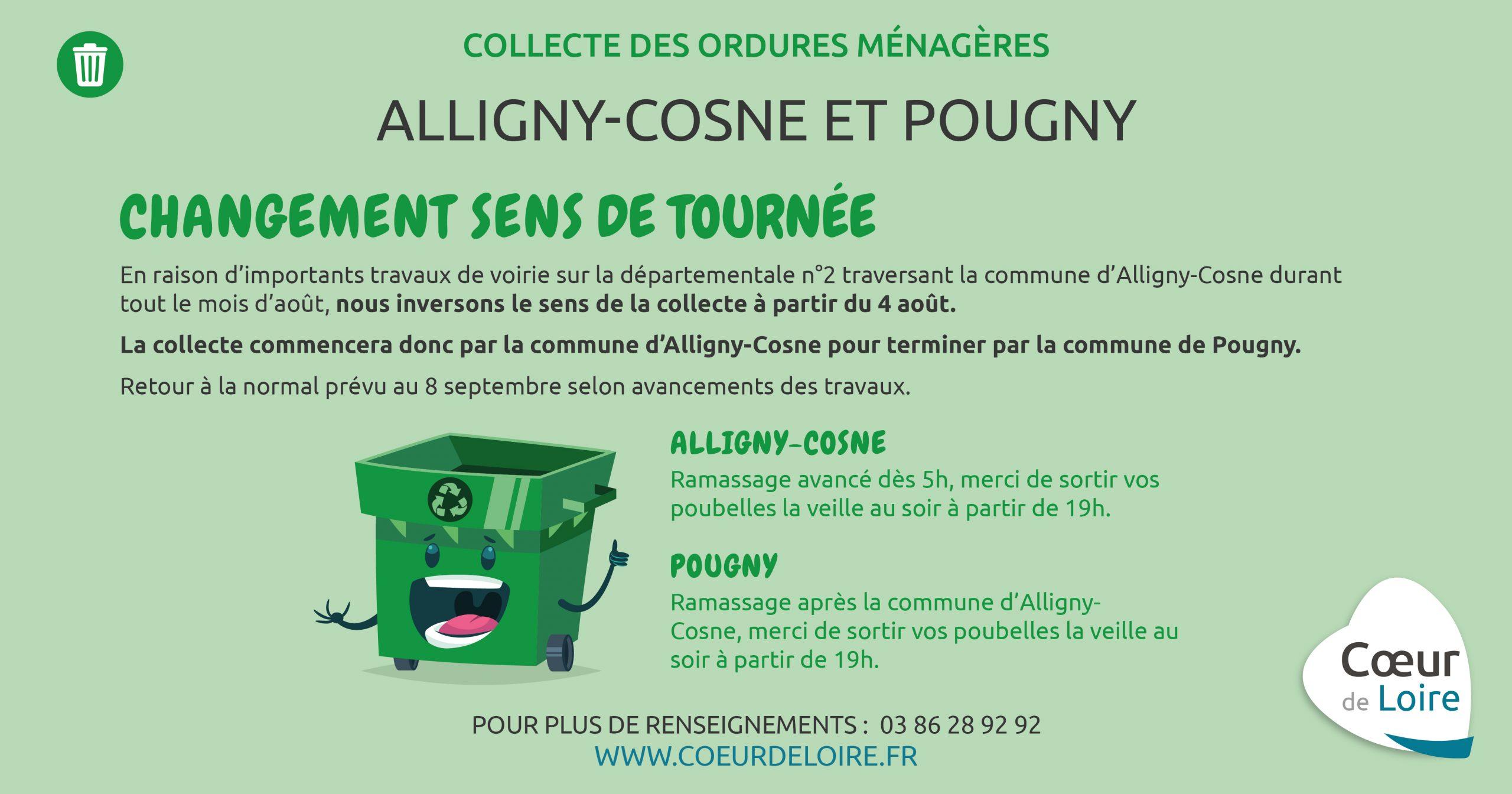 Alligny-Cosne et Pougny – Collecte des ordures ménagères